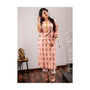 Floral Pink Cotton Kurti with sleeve dori