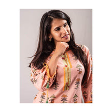 Load image into Gallery viewer, Floral Pink Cotton Kurti with sleeve dori