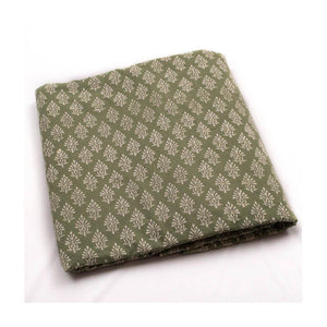 Hand block pista colour with pine print mulmul cotton fabric - Paakhee - Handcrafting Dreams