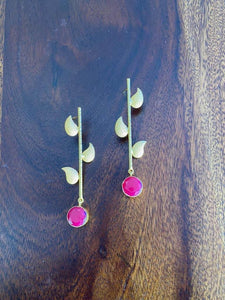 Gold tone pink druzy stone leaf dangler earrings - Paakhee - Handcrafting Dreams