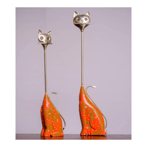 Royal Cat - Set of 2 - Metal and Wood - Paakhee - Handcrafting Dreams
