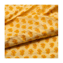 Load image into Gallery viewer, Hand block light yellow colour with flower bud print mulmul cotton fabric - Paakhee - Handcrafting Dreams