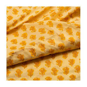 Hand block light yellow colour with flower bud print mulmul cotton fabric - Paakhee - Handcrafting Dreams