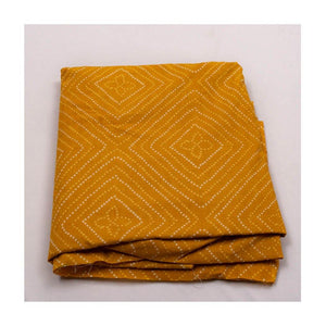 Hand block mustard yellow colour with dot print mulmul cotton fabric - Paakhee - Handcrafting Dreams