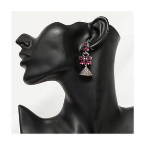 Faux ruby stone studded oxidized silver birdie jhumkas - Paakhee - Handcrafting Dreams