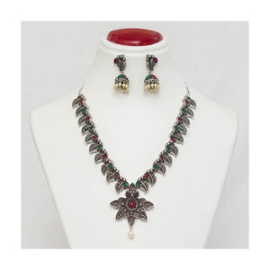 Beautiful leaf star stone studded Oxidized Jewellery Set