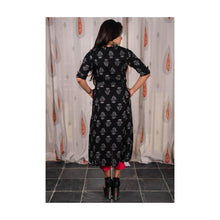 Load image into Gallery viewer, Black Floral Print Pocket Kurti