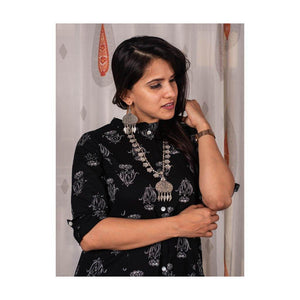 Black Floral Print Pocket Kurti