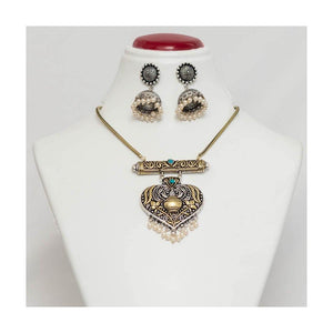 Turquoise kalash German silver pendant Jewellery Set with pearl droplet - Paakhee - Handcrafting Dreams