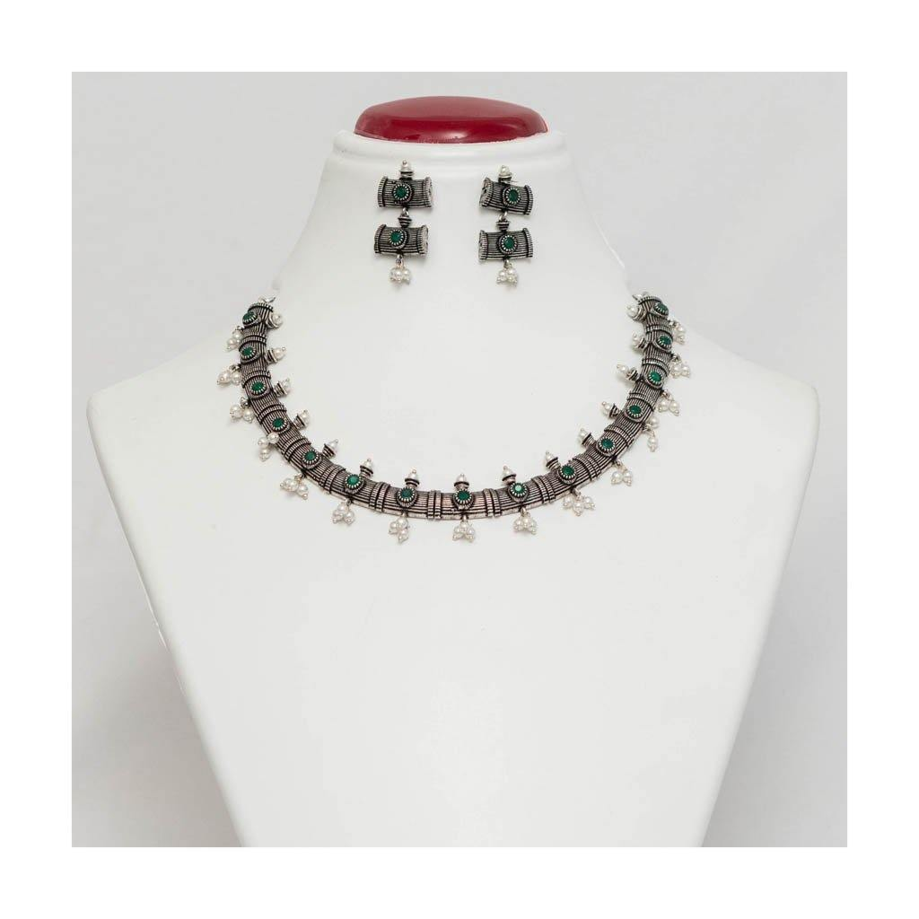 Faux emerald stone Choker German silver Jewellery Set with pearl droplet - Paakhee - Handcrafting Dreams