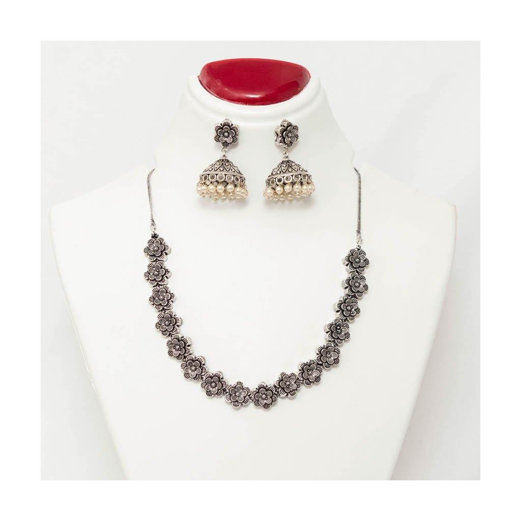 Women Oxidised silver plated blooming flower Handcrafted Jewellery Set