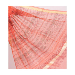 Peachy Kota Duria Cotton Silk Saree Handblock Rose Print