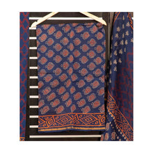 Load image into Gallery viewer, Dark blue fish handblock print cotton suit with chiffon dupatta
