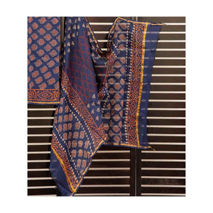 Dark blue fish handblock print cotton suit with chiffon dupatta - Paakhee - Handcrafting Dreams