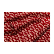 Load image into Gallery viewer, Hand block maroon colour with guldasta print mulmul cotton fabric