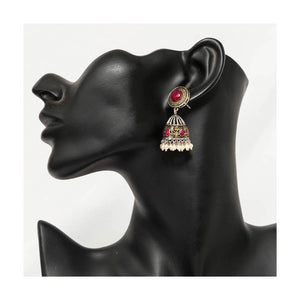 Dual tone faux ruby stone studded oxidized silver jhumkas - Paakhee - Handcrafting Dreams