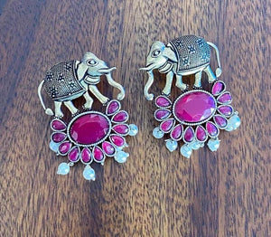 Dual tone faux ruby stone studded elephant earrings - Paakhee - Handcrafting Dreams