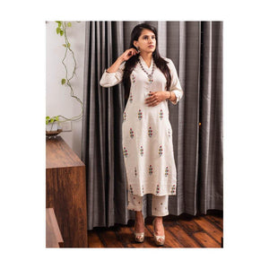 Cream floral embroidery with kurta pant set - Paakhee - Handcrafting Dreams