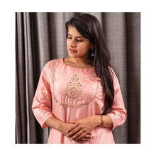 Load image into Gallery viewer, Light Pink Cotton Silk Kurti with zari - Paakhee - Handcrafting Dreams