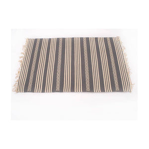 Cotton Floor Rug | 3 by 5 feet | Grey and white stripes pattern | Uttar Pradesh Handicraft - Paakhee - Handcrafting Dreams