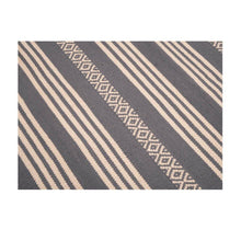 Load image into Gallery viewer, Cotton Floor Rug | 3 by 5 feet | Grey and white stripes pattern | Uttar Pradesh Handicraft - Paakhee - Handcrafting Dreams