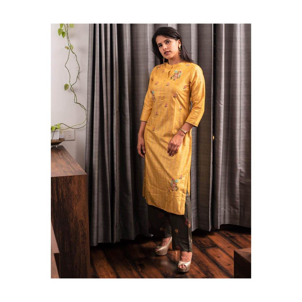 Mustard Yellow Cotton Silk Kurta Pant set