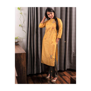Mustard Yellow Cotton Silk Kurta Pant set - Paakhee - Handcrafting Dreams
