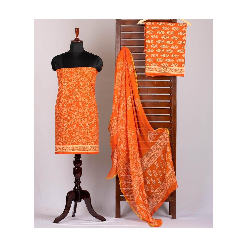 Orange leaf handblock print cotton suit with chiffon dupatta