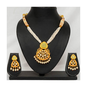 Party wear Maharani meenakari pearl string faux kundan Jewellery set