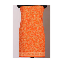 Load image into Gallery viewer, Orange leaf handblock print cotton suit with chiffon dupatta