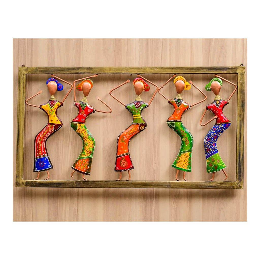 Dancing ladies | Wall Art | Rajasthan Handicraft | Made of Metal - Paakhee - Handcrafting Dreams