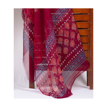 Load image into Gallery viewer, Dark pink fish handblock print cotton suit with chiffon dupatta