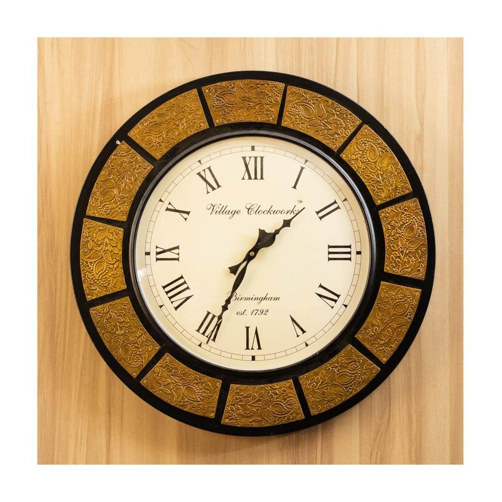 Wall Clock | Roman Dial | Golden & Black Finish | Rajasthan Handicraft - Paakhee - Handcrafting Dreams