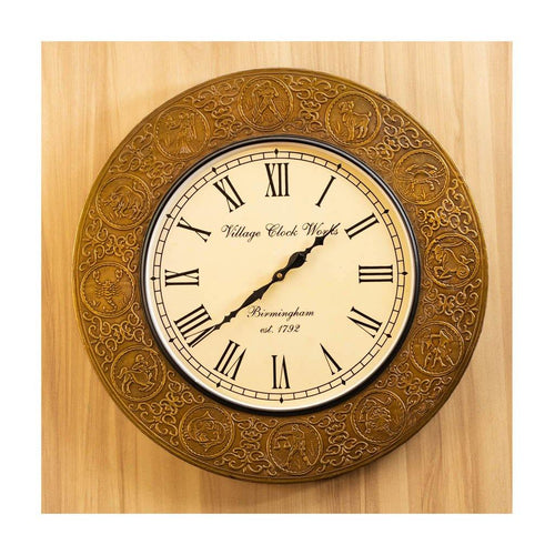 Wall Clock | Roman Dial | Sunsign Finish | Rajasthan Handicraft | Diameter 44cm - Paakhee - Handcrafting Dreams