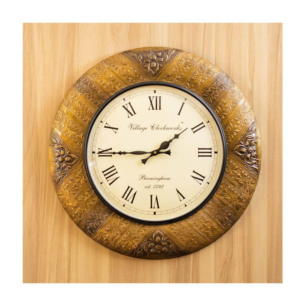 Wall Clock | Roman Dial | Golden Finish | Rajasthan Handicraft | Diameter 50cm - Paakhee - Handcrafting Dreams