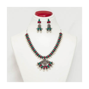 Faux ruby & emerald stone German silver pendant Jewellery Set with pearl droplet