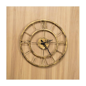 Metal Wall Clock | Small Size | Roman Dial | Rajasthan Handicraft | Diameter 30cm - Paakhee - Handcrafting Dreams