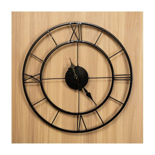 Metal Wall Clock | Roman Dial | Black colour | Rajasthan Handicraft | Diameter 53cm - Paakhee - Handcrafting Dreams