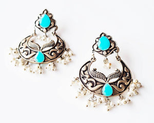 Oxidised silver jhumka inpired sea green stone studded earrings with pearls