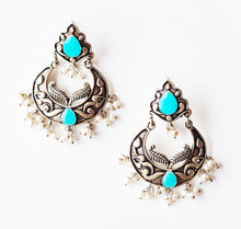 Load image into Gallery viewer, Oxidised silver jhumka inpired sea green stone studded earrings with pearls