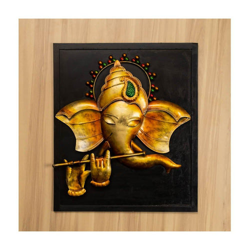 Bansuri Lord Ganesha | Metal on Wood | Wall Art | Rajasthan Handicraft - Paakhee - Handcrafting Dreams