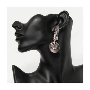Oxidized silver droplet earrings fauz ruby stone