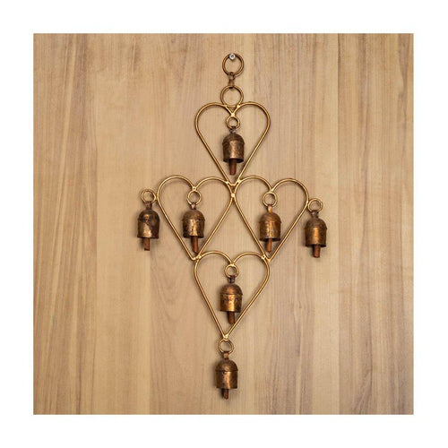 Wind Chime | Heart Theme | Set of 7 copper coated bells | Gujarat Handicraft - Paakhee - Handcrafting Dreams