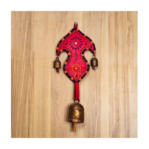 Decorative bell | Tri bells | Red Leather strap | Copper coated | Gujarat Handicraft - Paakhee - Handcrafting Dreams