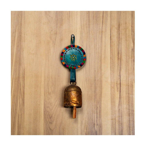 Decorative bell | Blue Leather strap | Copper coated | Gujarat Handicraft - Paakhee - Handcrafting Dreams