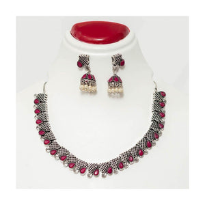 Faux emerald stone German silver jaal Jewellery Set with pearl droplet - Paakhee - Handcrafting Dreams