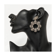 Load image into Gallery viewer, Oxidized silver handcrafted floral droplet earrings