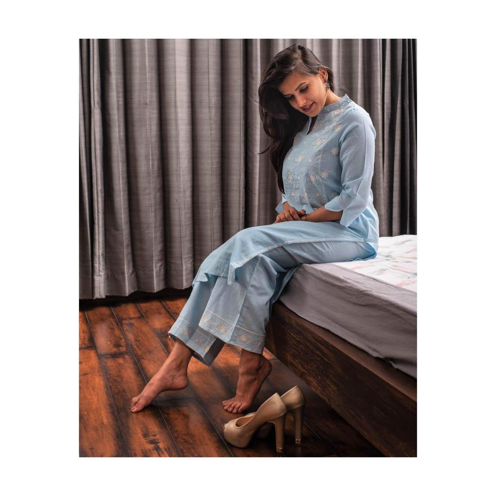 Embroidery sky blue kurta pant set - Paakhee - Handcrafting Dreams