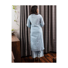 Load image into Gallery viewer, Embroidery sky blue kurta pant set - Paakhee - Handcrafting Dreams