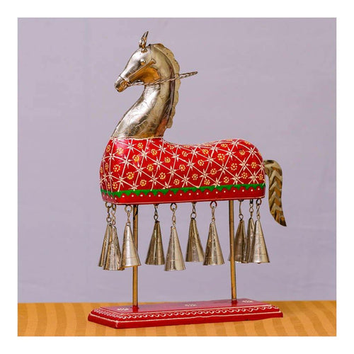 Wooden Horse with Bells - Maroon Red - Paakhee - Handcrafting Dreams